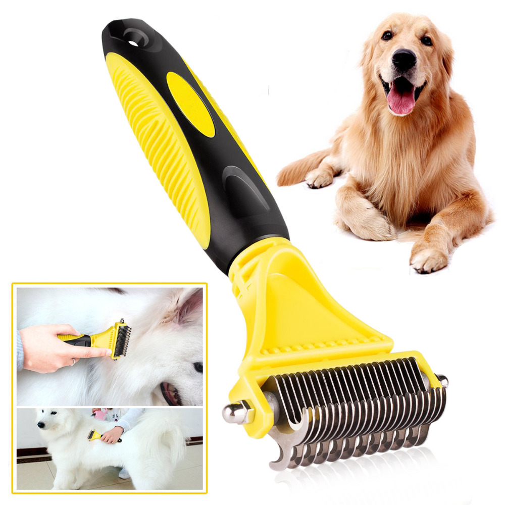 New Stainless Double-sided Pet Cat Dog Comb Brush Professional Large Dogs Open Knot Rake Knife Pet Grooming Products