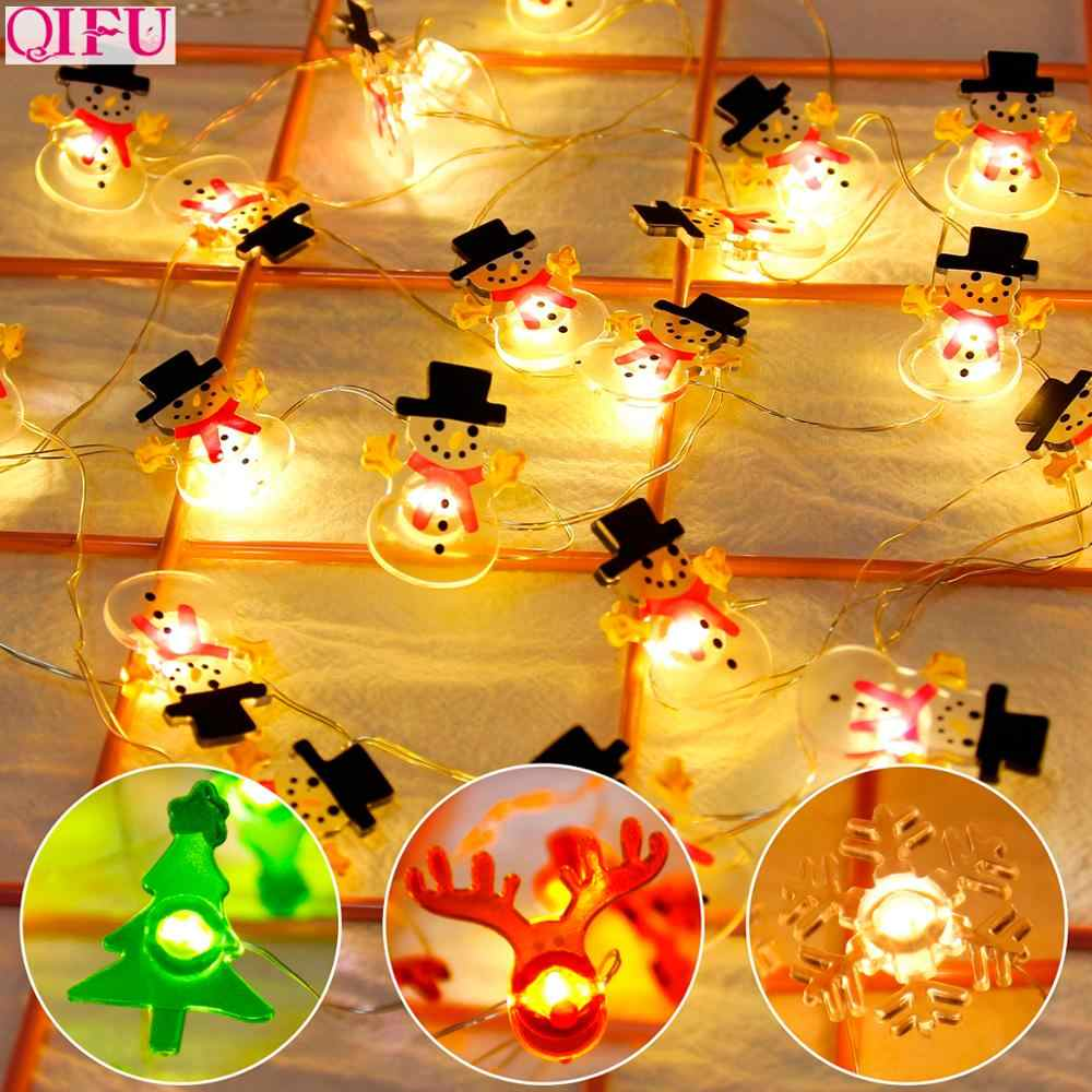 QIFU Snowman Elk Garland Holiday Light String Merry Christmas Decor for Home Christmas 2019 Ornament Navidad Natal New Year 2020