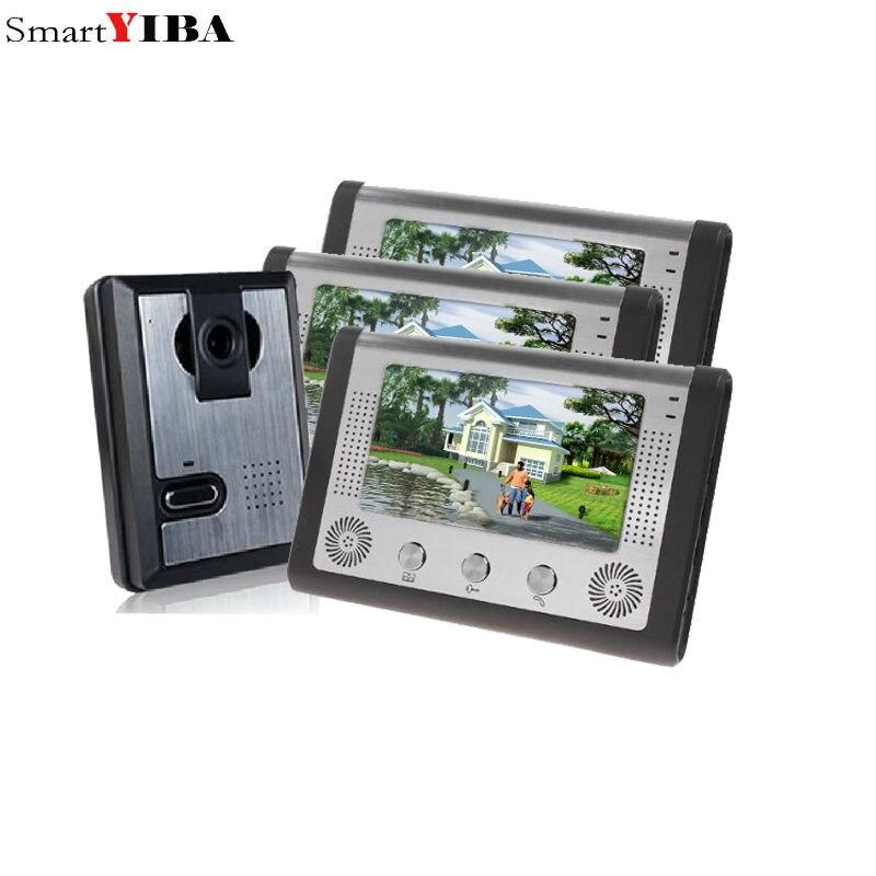 SmartYIBA 7 Inch LCD Video Door Phone Doorbell Intercom Kit 1-camera 3-monitor Night Vision with IR-CUT HD 700TVL Camera