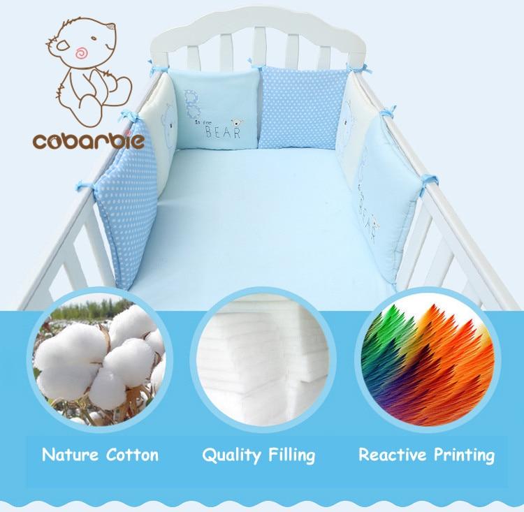 Spædbarn Crib Bumper Bed Beskytter Baby Kids Bomuld Cot Nursery Sengetøj 6 pc Bomuld Blå Bjørn Pude Pude til Dreng