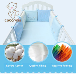 Infant Crib Bumper Bed Protector Baby Kids Cotton Cot Nursery bedding 6 pc Cotton Blue bear Pillow Cushion for boy