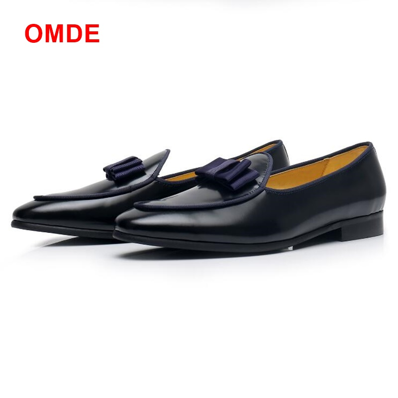 OMDE New Men Black Loafers With Bowtie British Style Genuine Leather Men's Party And Prom Shoes Fashion Slip-on Mens Dress Shoes 2015 new spring and summer british top fashion leisure driving full grain embossed genuine leather slip on men s loafers shoes