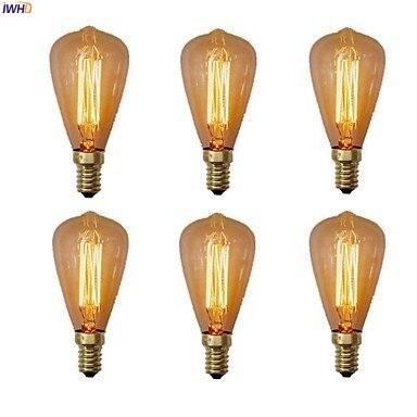 IWHD lámpara E14 Edison Bombilla 220V 40W Bombilla Vintage vela incandescente Retro lámpara C35 Bombillas Edison clásicas bombilla de luz con filamento LED E27 4W 220V 240V bombilla incandescente Retro cálida bombilla Edison para lámpara colgante