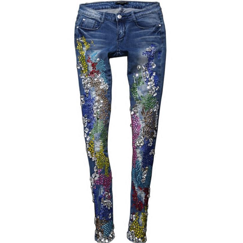 Nouveauté mode femmes perles diamant dames jeans skinny Jeans