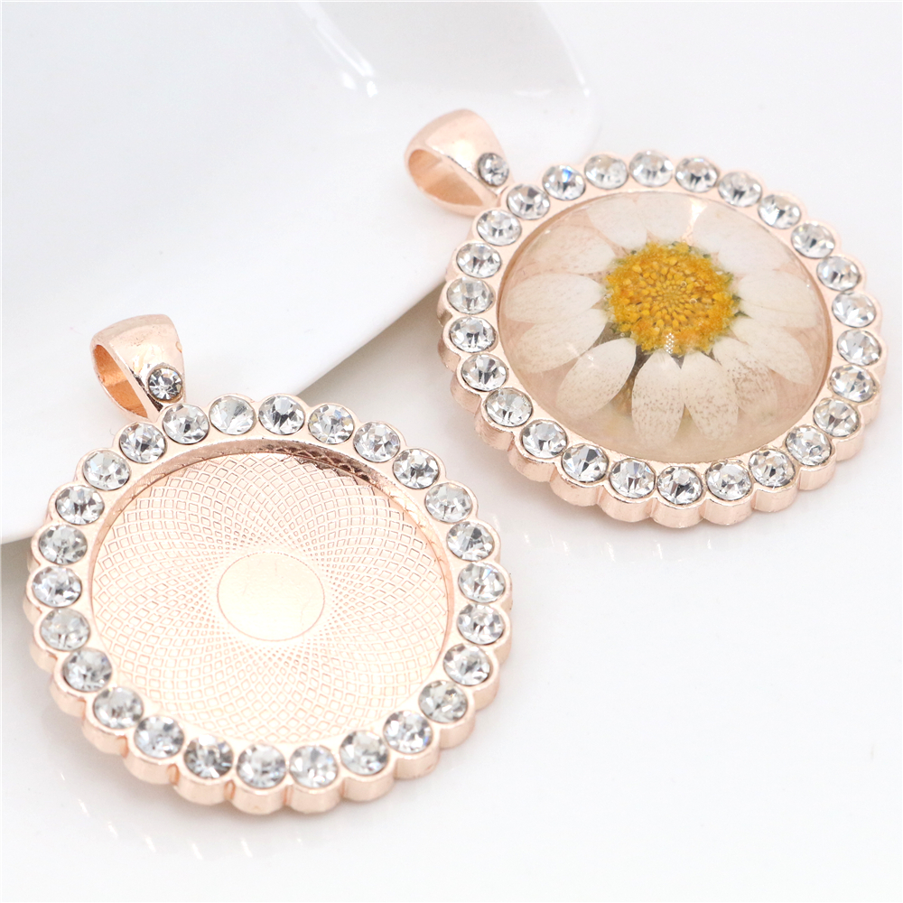 New Fashion 2pcs 25mm Inner Size Light Rose Gold plated Transparent Rhinestone Cabochon Base Setting Charms Pendant (A3-19)New Fashion 2pcs 25mm Inner Size Light Rose Gold plated Transparent Rhinestone Cabochon Base Setting Charms Pendant (A3-19)