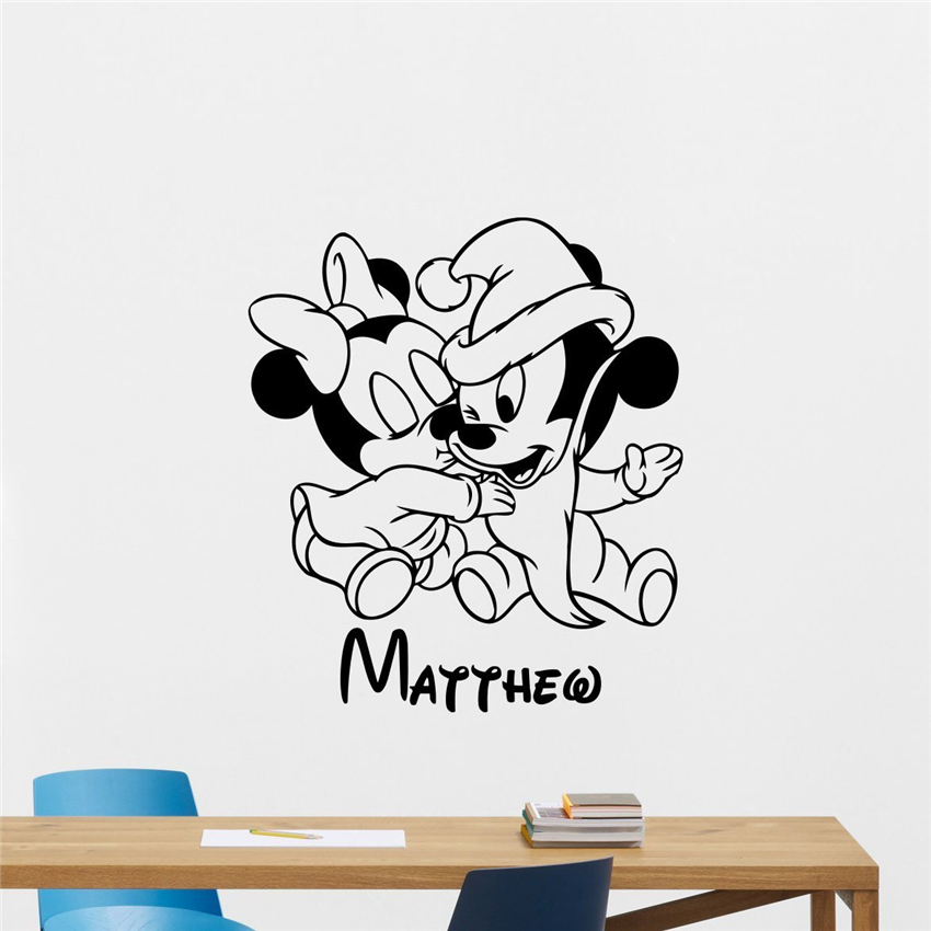 Personalized Name Mickey Mouse Wall Decal Minnie Kids Room Wall Art Design Bedroom Ideas Nursery Decor Mural Wall Sticker M698