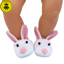 Baby Doll Shoes Cute Rabbit Bear Sshoes Fit 43cm Zapf Baby Doll Accessories Girl Gift xie575