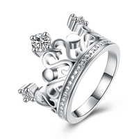 Exquisite Crown White Crystal Zircon Ring 925 Sterling Silver Engagement Wedding Ring Size 8