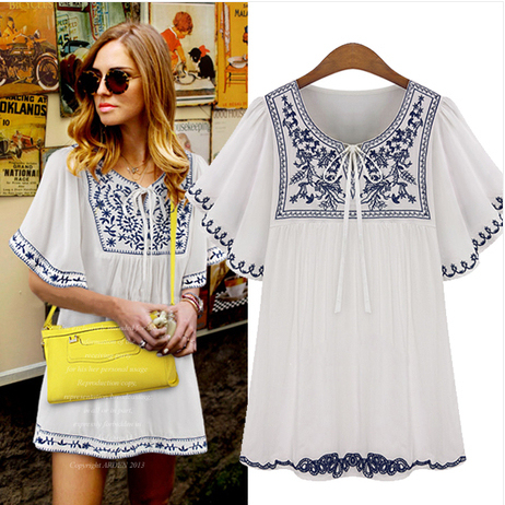 Free Shipping Plus Size Women 2017 Fashion Short Sleeve Round Neck  Embroidered Chiffon Boho Hippie Peasant