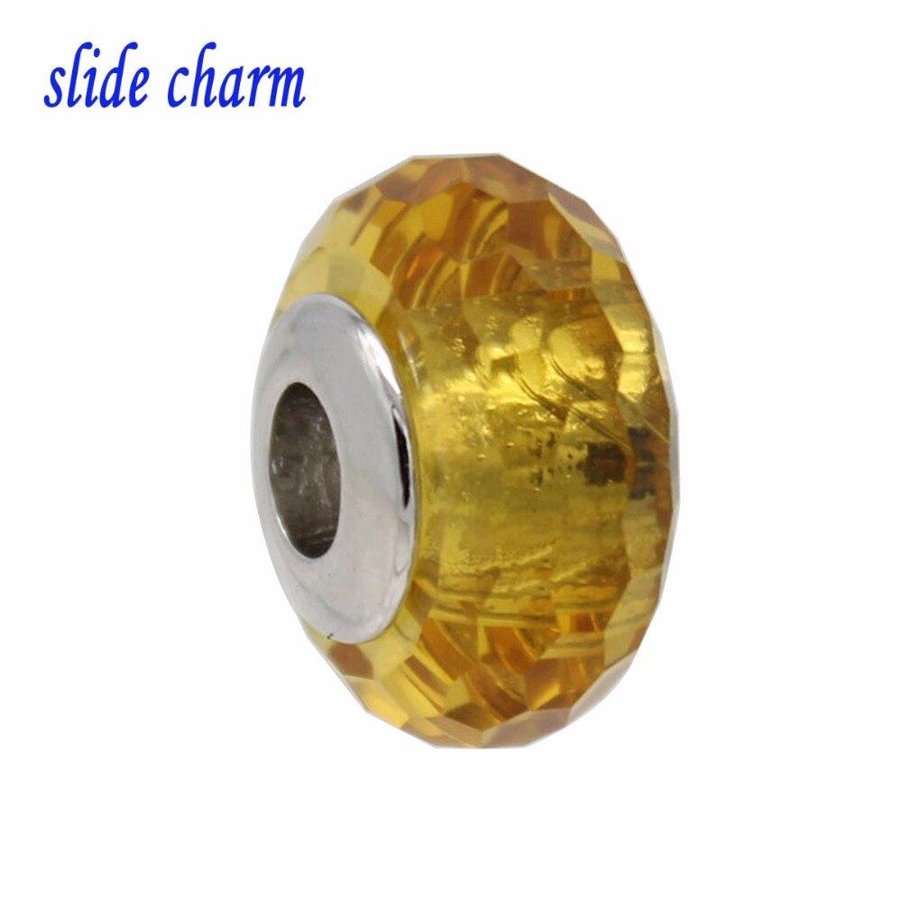 slide charm DIY accessories hand-cutting process gold glass beads hexagonal charm fit Pandora bracelet Free shipping