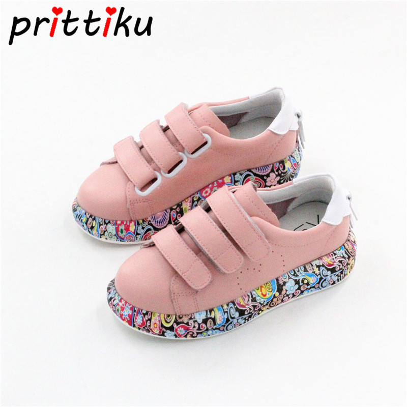 Toddler Girl Graffiti Casual Sneakers Little Boy Sport School White Skates Big Kids Children Genuine Leather Spring Summer Shoes
