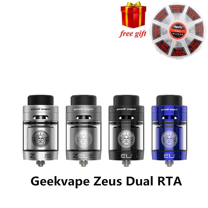 Cadeau gratuit! Original Zeus double RTA Geekvape Zeus Double bobine version 4 ml RTA zeus atomiseur fuite preuve haut flux d'air système E Cigarette