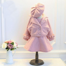 2016 Winter Fashion Luxury Girl Clothing Set Pink Red Navy Long Sleeve Coat+Cute Hat+Cotton Sleeveless 3Pcs Children Suit