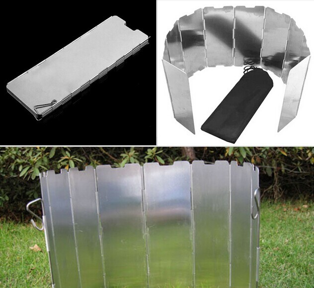5pcs( Hot Sale 10 plates Fold Camping Cooker Gas Stove Wind Shield Screen Foldable Outdoor
