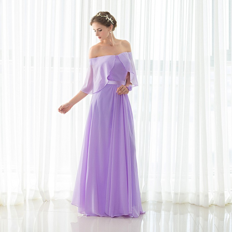 US $168.96  Elegant Lavender A Line Long Bridesmaid Dresses New Off  Shoulder Chiffon Formal Party Gown Plus Size-in Bridesmaid Dresses from  Weddings & ...
