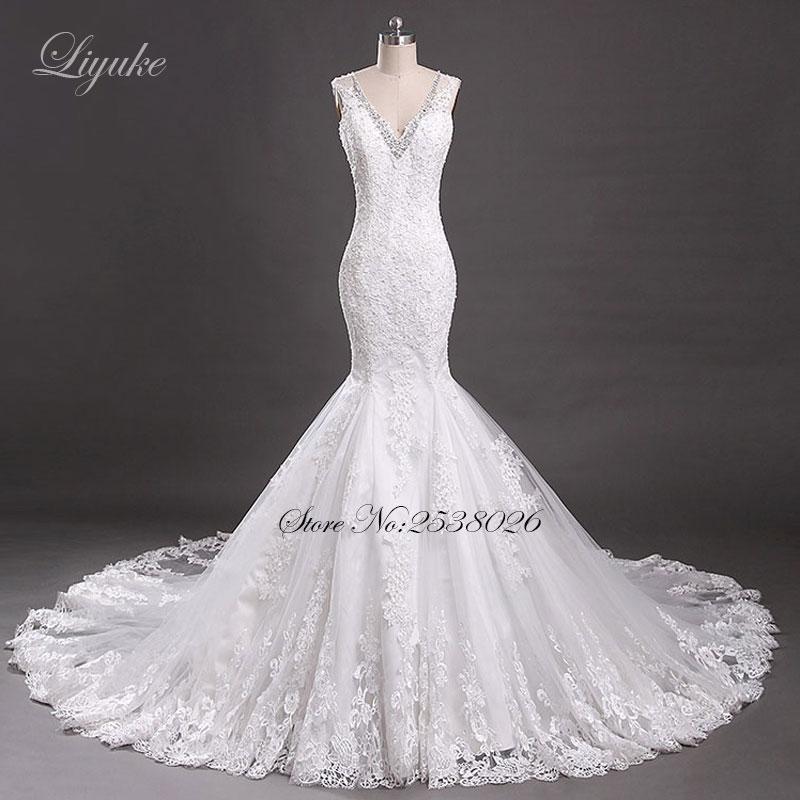 Elegantiška nėrimo rankovė V-Backless Mermaid Vestuvinė suknutė - Vestuvių suknelės