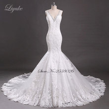 Elegant Lace Sleeveless V-Backless Mermaid Wedding Dress Scoop Neckline Aplliqued Tiered Court Train Bridal Liyuke