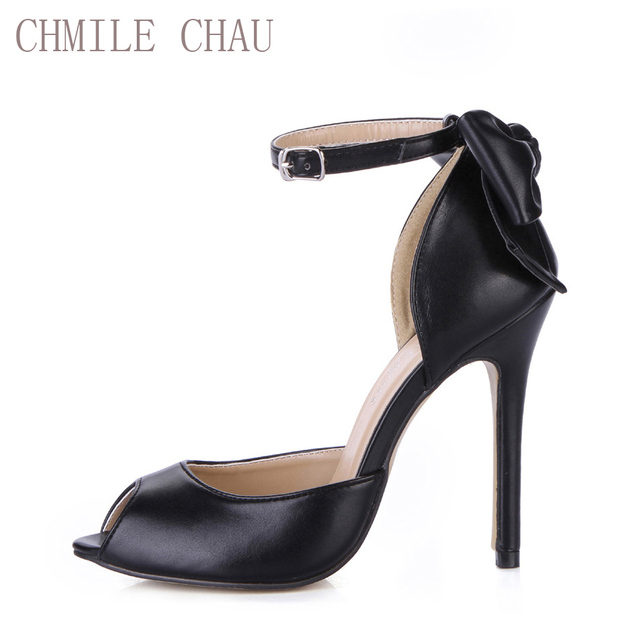 e9aaad1ab383 CHMILE CHAU Black Sexy Dress Party Women Shoes Peep Toe Stiletto High Heel  Flower Bowtie Ladies Pumps Zapatos Mujer 0640C-k1