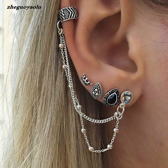 4pcs/set Bohemian Retro Style Crown Water Droplets Chain Fashion Earrings For Women Ear Cuff With Chain Set Earrings