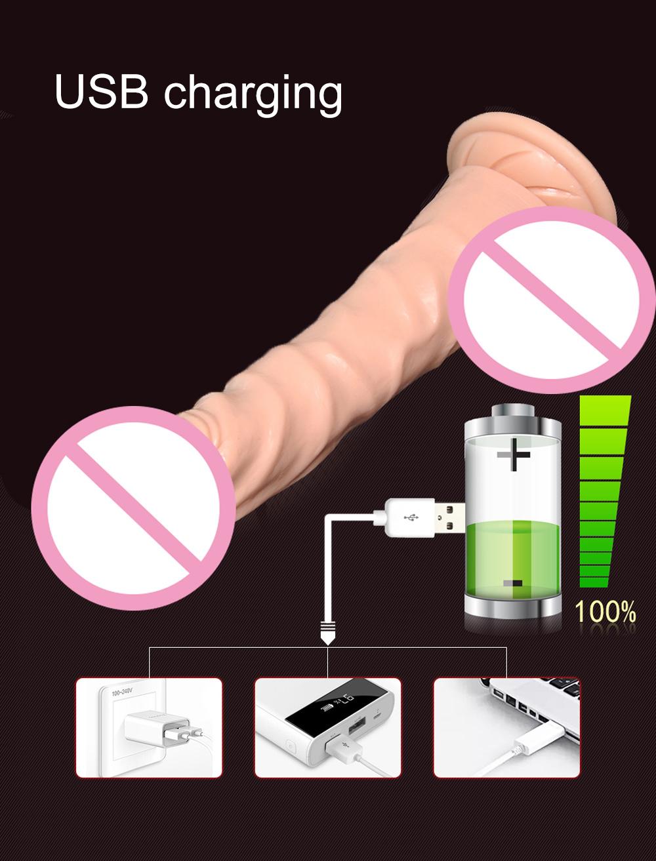 USB Rechargeable Huge Vibrating Dildo