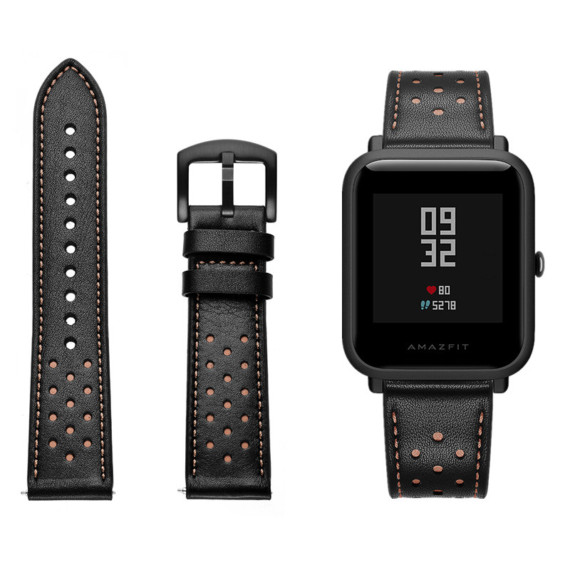 ASHEI 20mm Leather Watch Strap For Xiaomi Huami Amazfit Bip Pace Youth Smart Watch Band Replacement Bracelet For Amazfit Bip eastar nylon woven watch band colorful replacement with buckle strap for amazfit bip for xiaomi huami amazfit pace bracelet 22mm