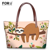 FORUDESIGNS Cartoon Sloth Printed Luxury Handbags Women Brand Design Tote Bags 2018 Cute Womans Large Shopping Bag Bolsos Mujer