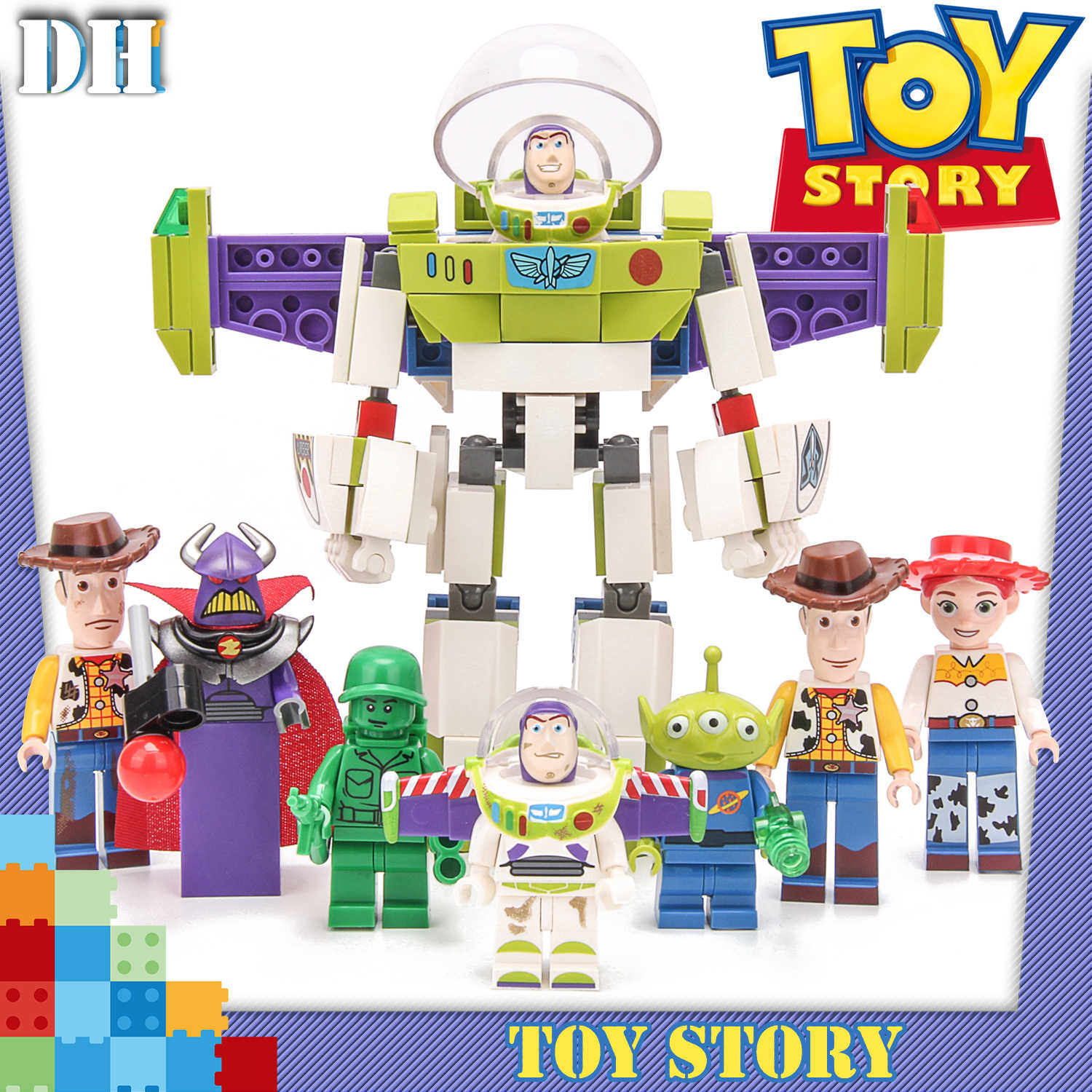 8 in1 Toy Story 4 ตัวเลข Gremlins Gizmo Woody Buzz Lightyear Jessie Andy Super Mario Building บล็อกเพื่อนของเล่น