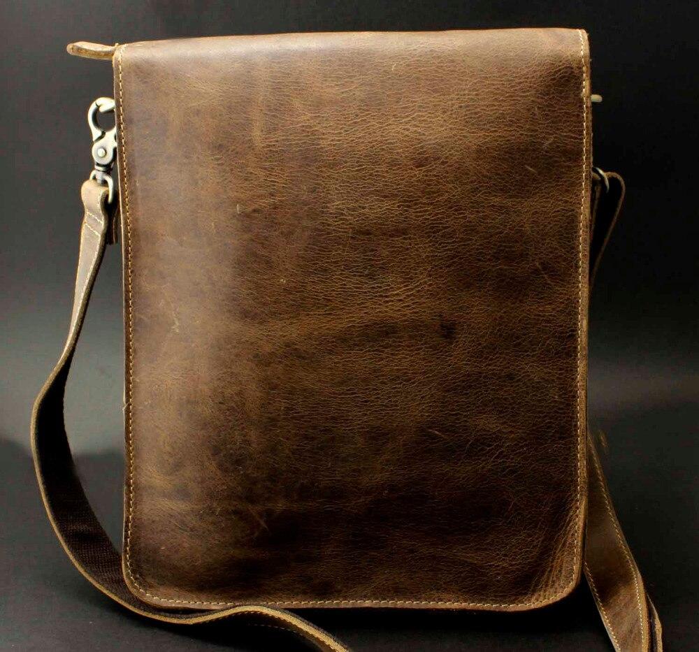 Echte Messenger Rindsleder Taschen Leder Braun B26 Schulter Vintage Männer Schulranzen Hq4xSOqR