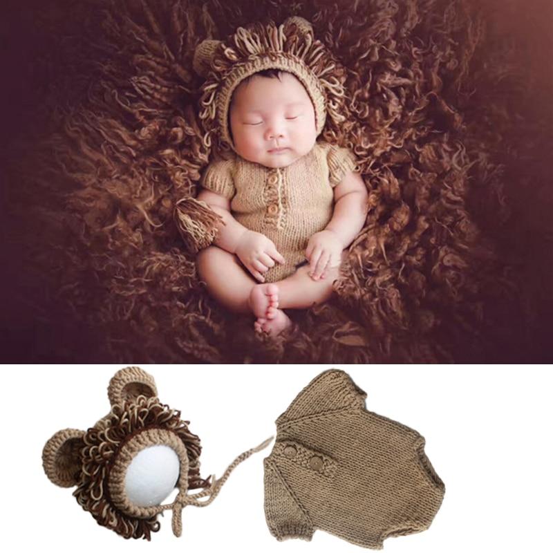 bebe foto roupas bonito leao design chapeu camisola 2 pcs bebe fotos trajes infantil recem nascido