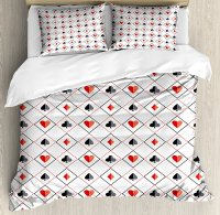Poker Duvet Cover Set Symbols of Poker Game inside Rhombus Style Frames of Geometric Dots and Lines 4 Piece Bedding Set
