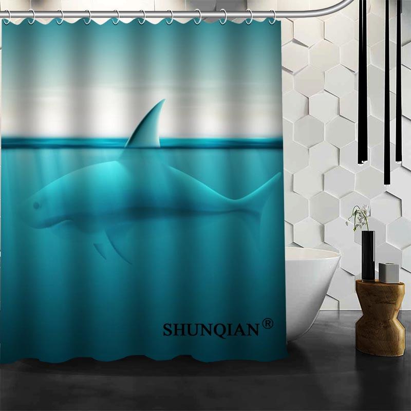 Waterproof Bathroom Curtains Modern Shark Shower Curtain Polyester Bath  Screens Customized Curtain In Shower Curtains From Home U0026 Garden On  Aliexpress.com ...