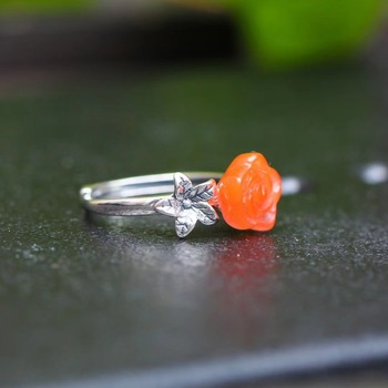 South red flower Classic retro art austere European style Female S925 silver open ring image