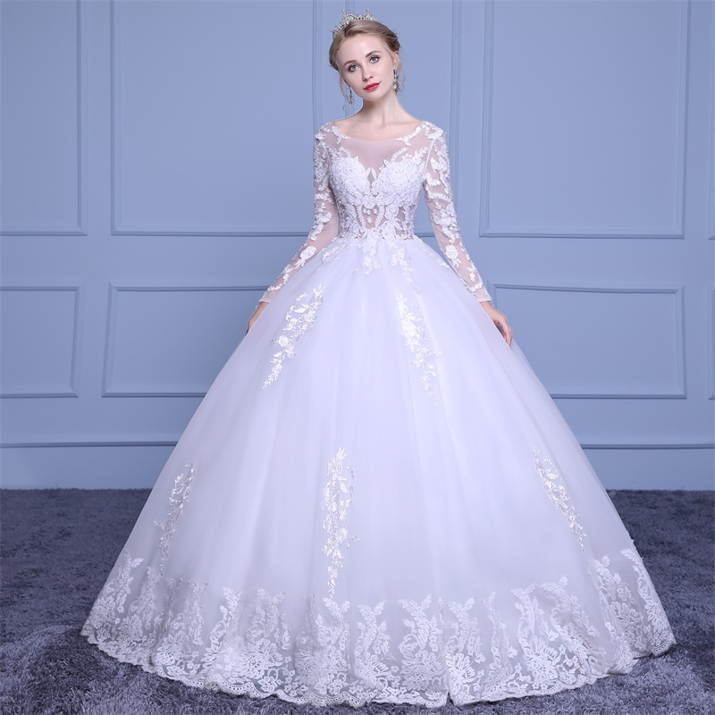 Marfoli Luxury High-end sleeved Wedding Dresses 2018 With lace Beads A-Line Custom Size Bridal Gown Vestidos De Noiva WD0031