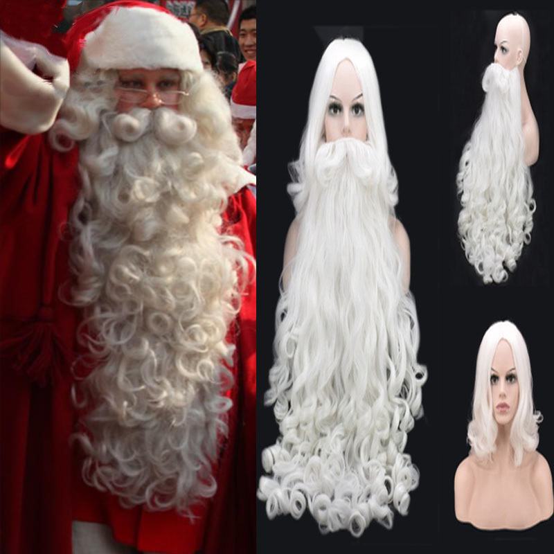 High Quality Christmas Cosplay Wig Beard Santa Claus White Curly Long Synthetic Hair For Women Men Halloween Party Cosplay Prop