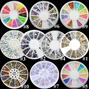 2 Wheels 3D NEW HOT Women's Fashion Nail Art Rhinestones Glitters Acrylic Tips Decoration Manicure Wheel Nail Decorations