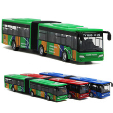 1PC New double-section bus alloy toys with back-force camouflage exterior trumpet buses are selling well kids car toy