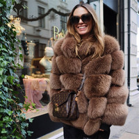 Furealux Real Fox Fur Coat Women Winter Thick Fur Coat Real Fox Fur Jacket Overcoat Female Ladies Stand Collar Furs Jacket
