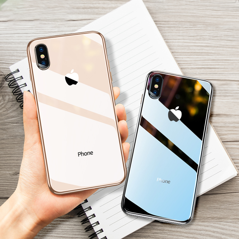 meet b1fb3 d7487 US $2.88 15% OFF|for iPhone XS Max Xr 7 8 Plus 6s Case Luxury Tempered  Glass Back Cover With Logo Shockproof Silicone Bumper for Coque iPhone X  -in ...
