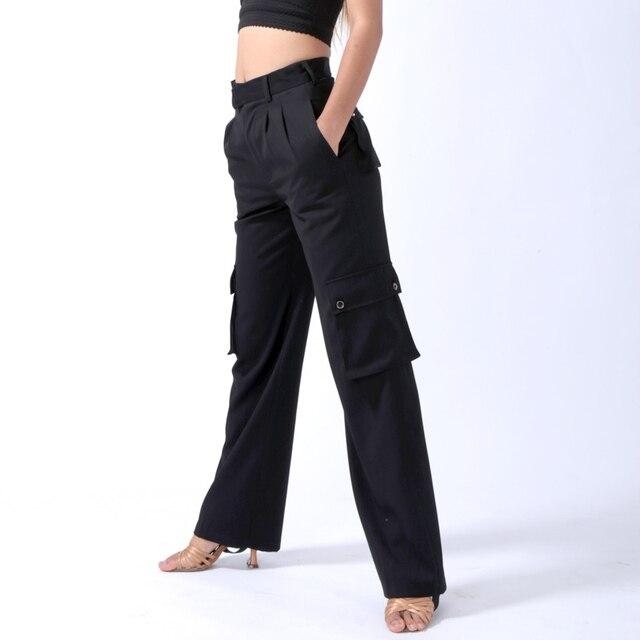 Fantasia Latin Dance Pant For Male/Female Black Fringe Standard Pant Men Vintage Women Chacha Professional Jazz Trouser N7039