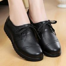 Shoes Woman Genuine Leather Designer Luxury Ladies shoes Lace-up Basic Casual Flats Shoes 2019 Hot Black shoes size 41