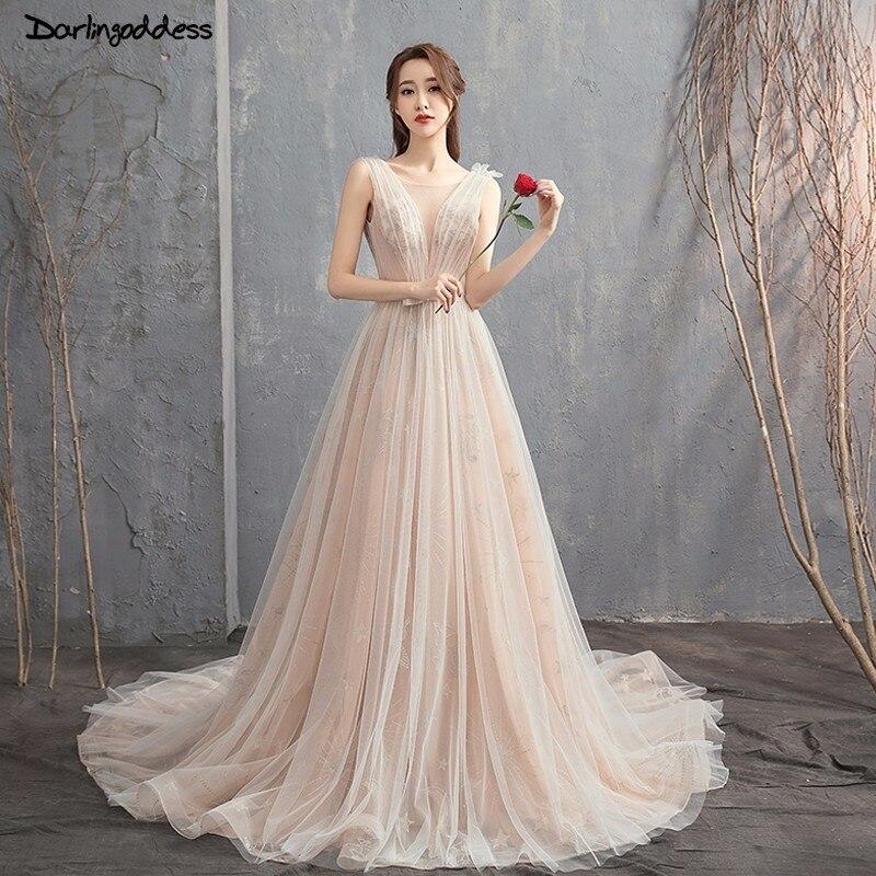 Beach Spaghetti Strap Wedding Gown: Champagne Beach Wedding Dress 2018 Lace Spaghetti Strap