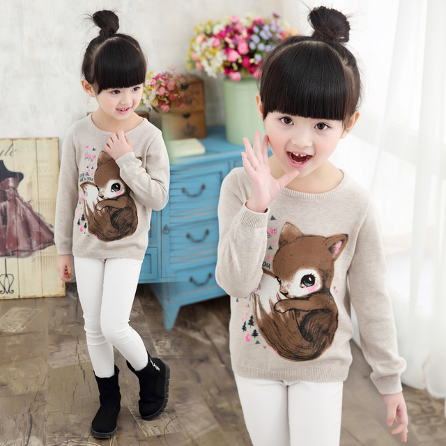 f5282d8d0ae1 New 2016 Girls Sweaters Children Hooded pullover sweater cartoon ...