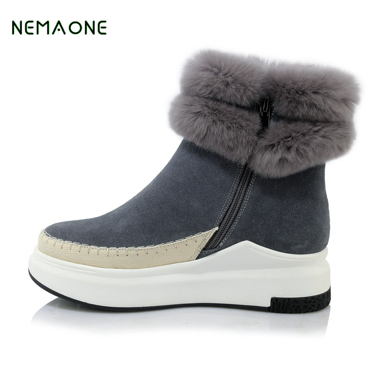 NEMAONE Top Quality Women's Genuine Sheepskin Leather Snow Boots 100% Natural Fur Snow Boots Warm Wool Winter Boots Women Boots top quality fashion women ankle snow boots genuine sheepskin leather boots 100% natural fur wool warm winter boots women s boots