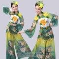 Национальная одежда павлин танец костюм классическая yangge танец с веером одежда современный костюм Les костюмы de danse chinoise