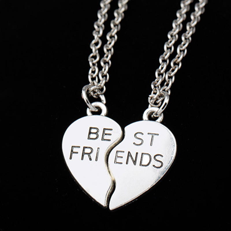 2PCS 2 Broken Heart Parts Best Friend Pendants Necklaces Share With Your Friends Creative Style Fashion Friendship Necklace New image