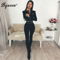 Bqueen Sexy Deep V Long Sleeve Women Bandage Jumpsuits Solid Black Women Bodysuits Fashion Full Bodycon Romper