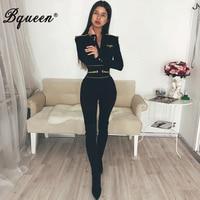 Bqueen Sexy Deep V Long Sleeve Women Bandage Jumpsuits Solid Black Women Bodysuits Fashion Full Bodycon Romper