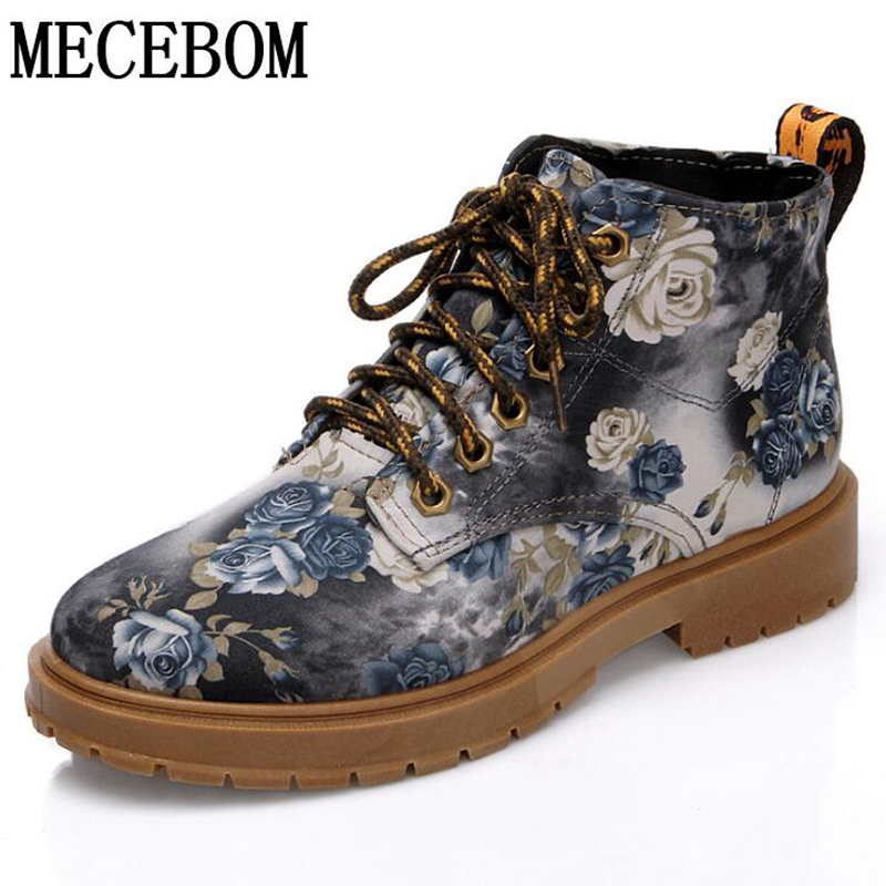 2018 British Style Flat Print Martin Boots Women Platform Shoes Retro Summer Floral Single Mid-Calf Lace-Up Short Boots 8808W double buckle cross straps mid calf boots
