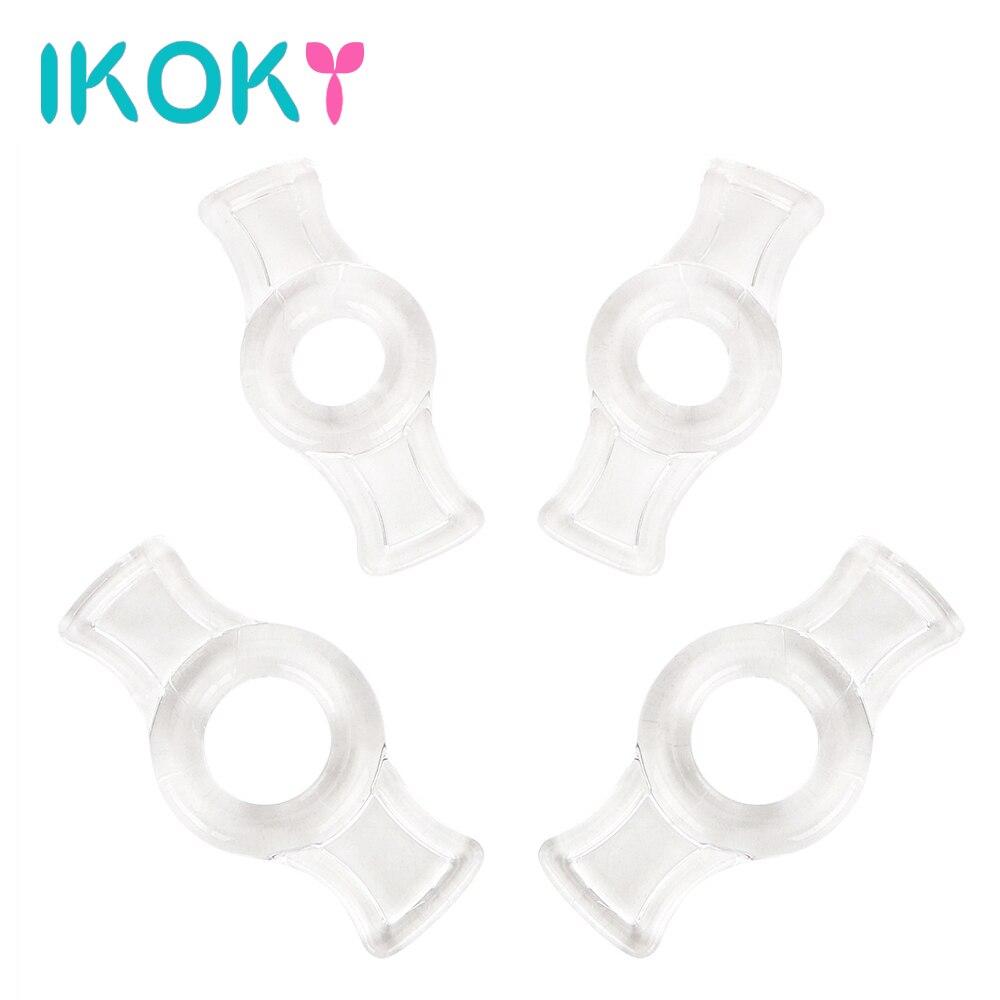 IKOKY 4pcs/set Cock Rings Delay Ejaculation Penis Rings Silicone TPE Penis Sleeve For Penis Enlargerment Pump
