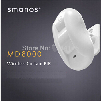 Free Shipping 868mhz Wireless Curtain PIR Motion Detector Smanos MD8000 315mhz chuango wireless curtain pir motion detector chuango pir 800 for home dhl free shipping